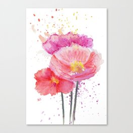 Colorful Watercolor Poppies Canvas Print