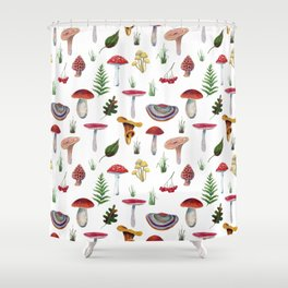 Mushrooms, leaves, grass, mountain ash. Drawn with colored pencils. Shower Curtain