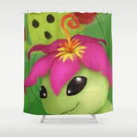 digimon Shower Curtains featuring Palmon by Artchemi
