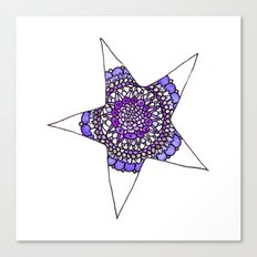 Blue/Purple Superstar Mandala Star Canvas Print