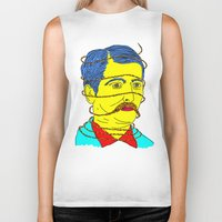moustache Biker Tanks featuring moustache by DIVIDUS