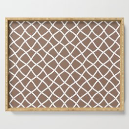Dark beige and white curved grid pattern Serving Tray