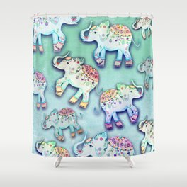 ELEPHANT PARTY MINT Shower Curtain