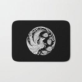 Traditional White and Black Chinese Phoenix Circle Bath Mat