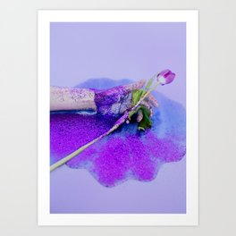 hand with tulip and glitter Art Print