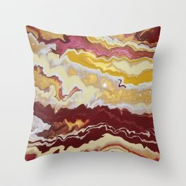 Cranberry Wine and Dandelion Throw Pillow