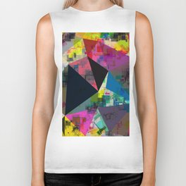 psychedelic geometric triangle pattern abstract with painting abstract background in pink blue yello Biker Tank