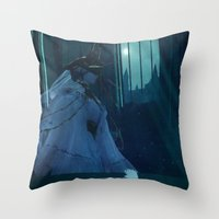 dark souls Throw Pillows featuring Dark Souls - Dark Sun Gwyndolin by Vulpa