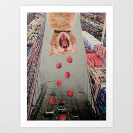 Cat Berry Art Print