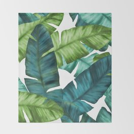 Tropical Banana Leaves Unique Pattern Throw Blanket