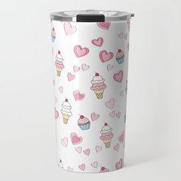 BellaRina - Cupcakes, Ice Cream & Hearts Pattern Travel Mug