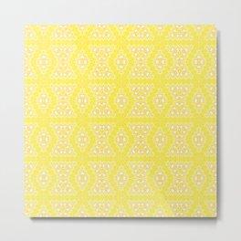 Yellow, ethnic ornament Metal Print