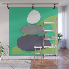 Abstract digital Zen balance art. Stack of stones on a green background Wall Mural