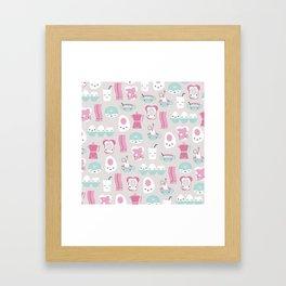 Kawaii breakfast good morning pattern with eggs coffee bacon and tea Framed Art Print
