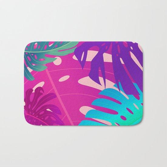 Colorful monstera leaves 1 Bath Mat