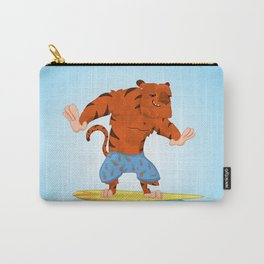 Surfing Tiger in Pineapple Swim shorts Carry-All Pouch