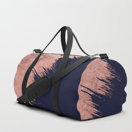 Navy blue abstract faux rose gold brushstrokes Duffle Bag