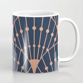 retro vintage fashion elegant rose gold navy blue art deco pattern Coffee Mug