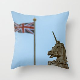 Buckingham Palace Unicorn Statue with Union Jack in Background Throw Pillow