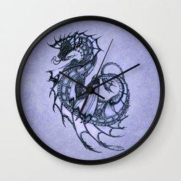 """Tsunami"" by Amber Marine ~ Sea Dragon (Amethyst Version) ~ Graphite Illustration, (Copyright 2005) Wall Clock"
