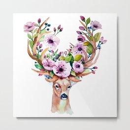 Deer Floral 2 Metal Print