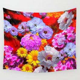 PINK-YELLOW-WHITE FLOWERS ON RED Wall Tapestry