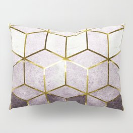 Elegant Geometric Purple Cubes with Gold Lining Pillow Sham