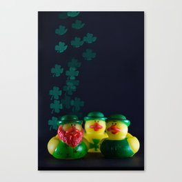 Happy St. Patrick's Day with St. Patrick's Day Rubber Ducks and Shamrock Shaped Bokeh Canvas Print