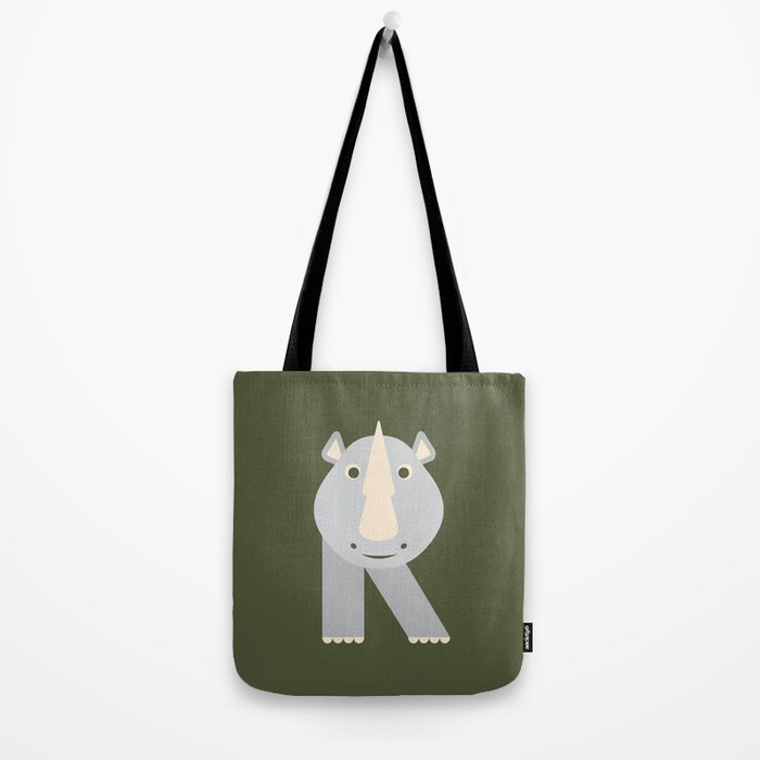 Letter R // Animal Alphabet // Rhino Monogram Tote Bag