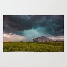 Rainy Day - Storm Passes Behind Barn in Southwest Oklahoma Rug