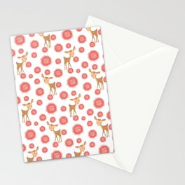 Little pretty baby fawns deer and dusty pink blooming roses seamless vintage retro white pattern Stationery Cards