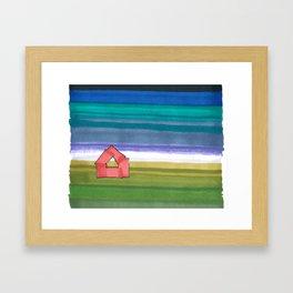 American Farm Landscape Blue Stripes 82 Framed Art Print