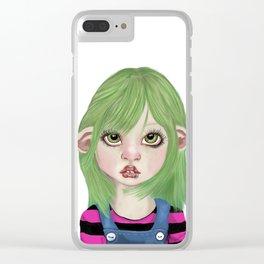 Big eye pierced pixie kid green background Clear iPhone Case