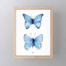 Two Blue Butterflies Watercolor Framed Mini Art Print