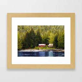 Old Houses on Evergreen Covered Coast Framed Art Print