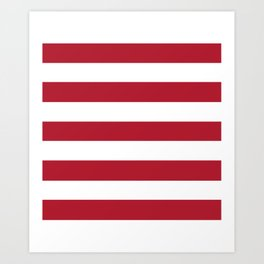 Christmas red - solid color - white stripes pattern Art Print