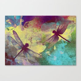Painting Orchids and Dragonflies Canvas Print