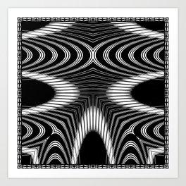 Geometric Black and White Skeleton African-Inspired Pattern Art Print
