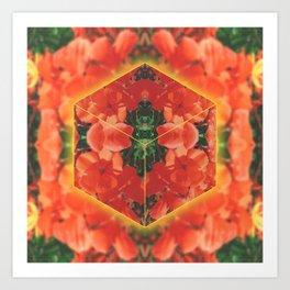 Orange Flower Collage Art Print