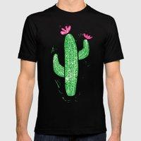 Linocut Cactus #2 Mens Fitted Tee MEDIUM Black