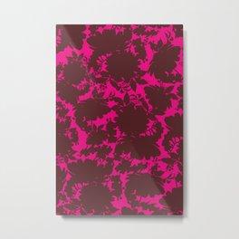 dark floral silhouette on deep pink Metal Print
