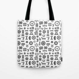 Black and White Seamless Pattern. Set of Industrial or Construction Vector Items on White Tote Bag