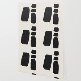 Mid Century Modern Minimalist Abstract Art Brush Strokes Black & White Ink Art Square Shapes Wallpaper