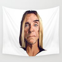 iggy Wall Tapestries featuring Mr. Iggy Pop by Viktor Miller Gausa