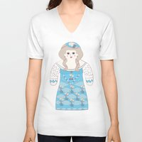 marie antoinette V-neck T-shirts featuring Marie Antoinette by Late Greats by Chen Reichert