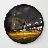 singapore Wall Clocks featuring Singapore Flyer by juliet h