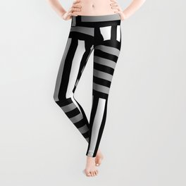 abstract stripy pattern in black, grey and white Leggings