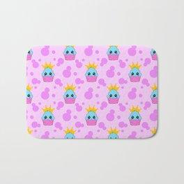 Cute happy little princess baby kawaii cupcakes, bold pink retro dots nursery pattern Bath Mat
