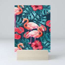 Flamingo birds and tropical garden        watercolor in blue and red Mini Art Print