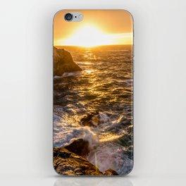 In Waves - Waves Crashing Into Rocks at Sunset In Big Sur iPhone Skin